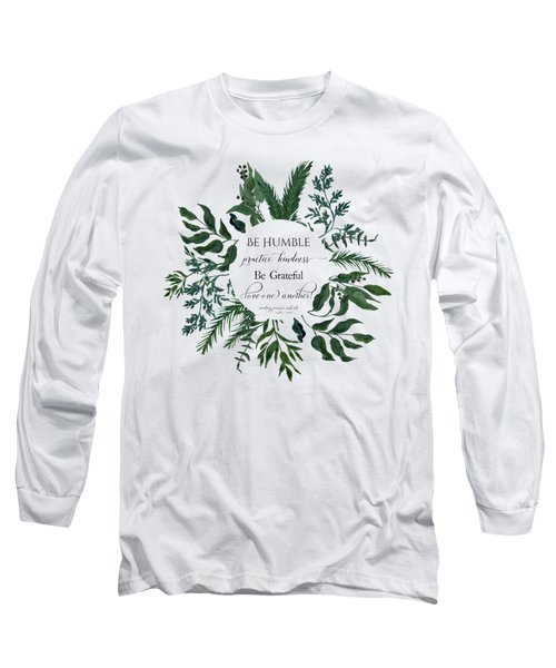 Emerald Wild Forest Foliage Watercolor Long Sleeve T-Shirt