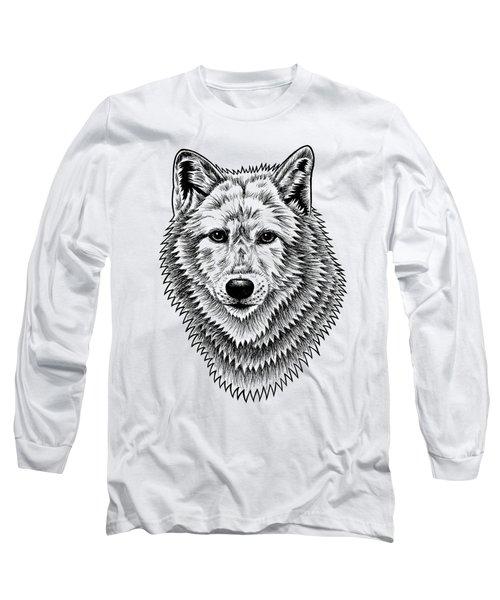 European Wolf - Ink Illustration Long Sleeve T-Shirt