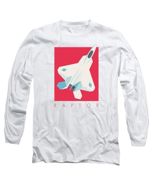 F22 Raptor Jet Fighter Aircraft - Crimson Long Sleeve T-Shirt