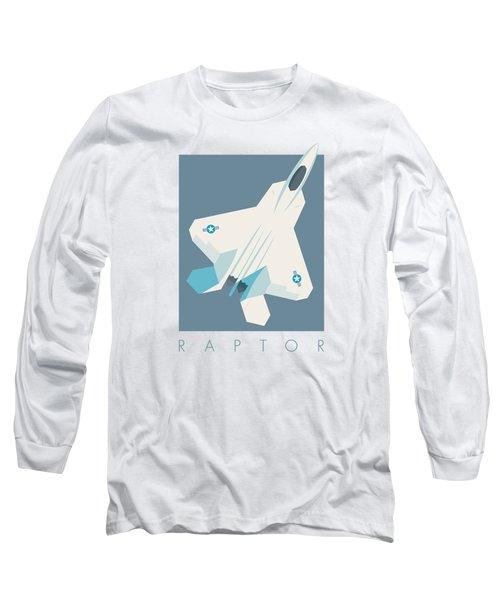 F22 Raptor Jet Fighter Aircraft - Slate Long Sleeve T-Shirt