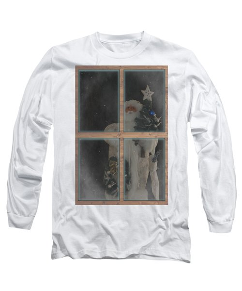 Father Christmas In Window Long Sleeve T-Shirt