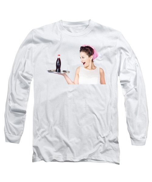Fifties Style Female Waiter Serving Up Soda Long Sleeve T-Shirt