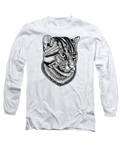 Fishing Cat  Ink Illustration Long Sleeve T-Shirt