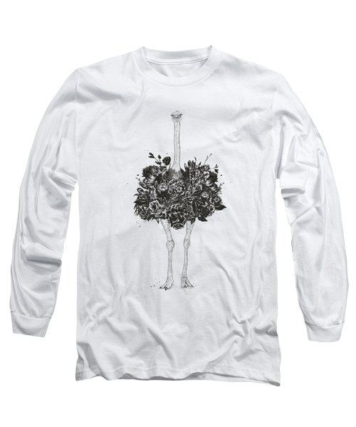Floral Ostrich Long Sleeve T-Shirt