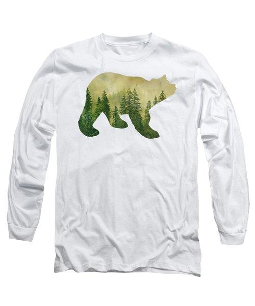 Forest Black Bear Silhouette Long Sleeve T-Shirt