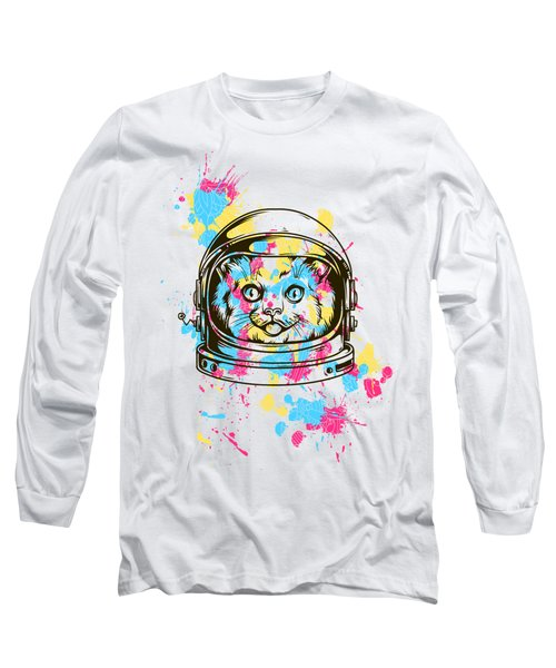Funny Colorful Cat Astronaut Long Sleeve T-Shirt