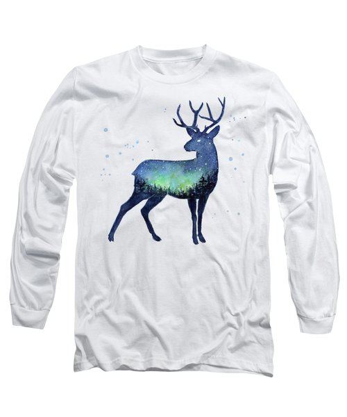 Galaxy Reindeer Silhouette Long Sleeve T-Shirt