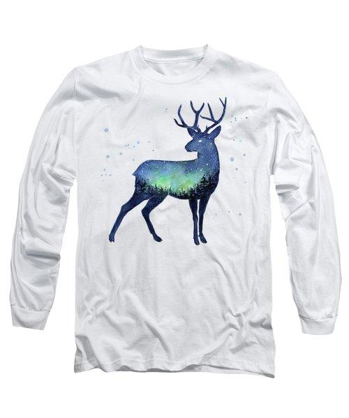 Galaxy Reindeer Silhouette Long Sleeve T-Shirt