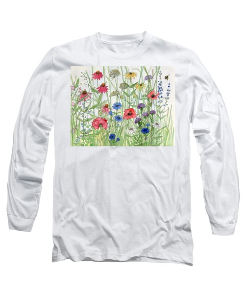 Garden Flower Medley Watercolor Long Sleeve T-Shirt