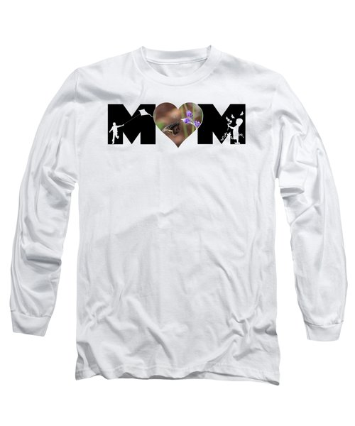Girl And Boy Silhouette With Butterfly On Lavender In Heart Mom Big Letter Long Sleeve T-Shirt