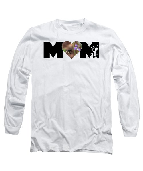 Girl Silhouette And Butterfly On Lavender In Heart Mom Big Letter Long Sleeve T-Shirt