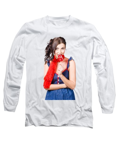 Glamorous Girl Eating Lollipop. Eat Your Heart Out Long Sleeve T-Shirt
