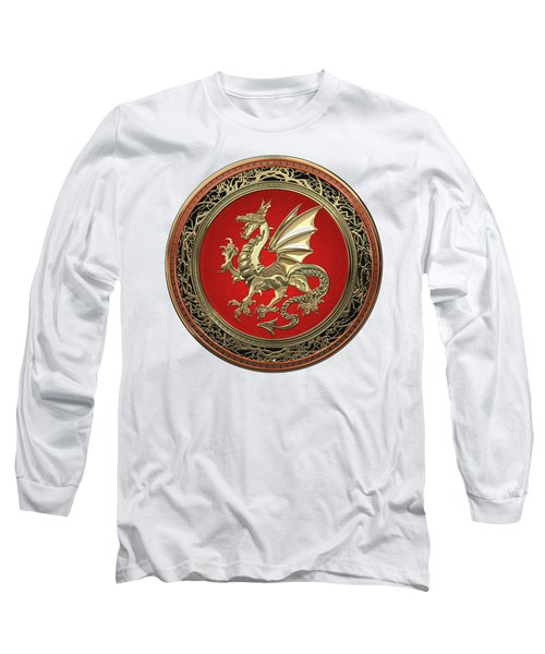 Gold Winged Norse Dragon - Icelandic Viking Landvaettir On Red And Gold Medallion Over White Leather Long Sleeve T-Shirt