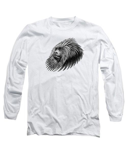 Golden Headed Lion Tamarin - Ink Illustration Long Sleeve T-Shirt