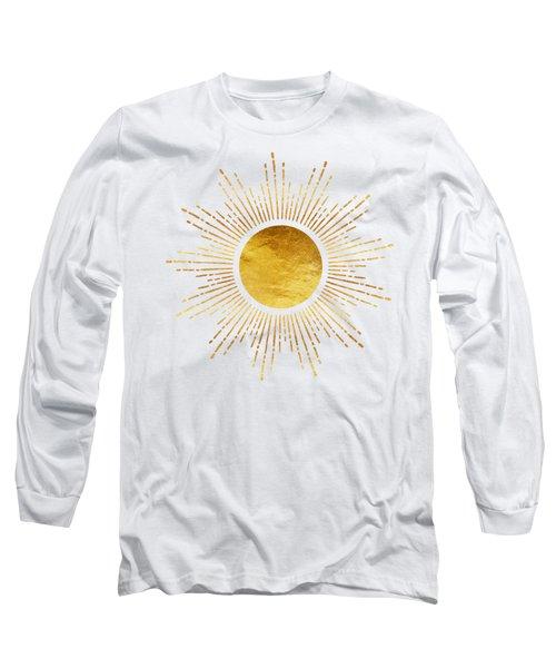 Golden Sunburst Abstract Starburst White Hot Long Sleeve T-Shirt