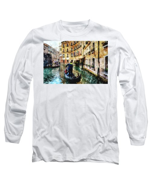 Gondola Traffic Near Piazza San Marco In Venice, Italy - Watercolor Effect Long Sleeve T-Shirt