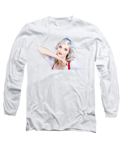 Good Looking 50s Pinup Girl Long Sleeve T-Shirt