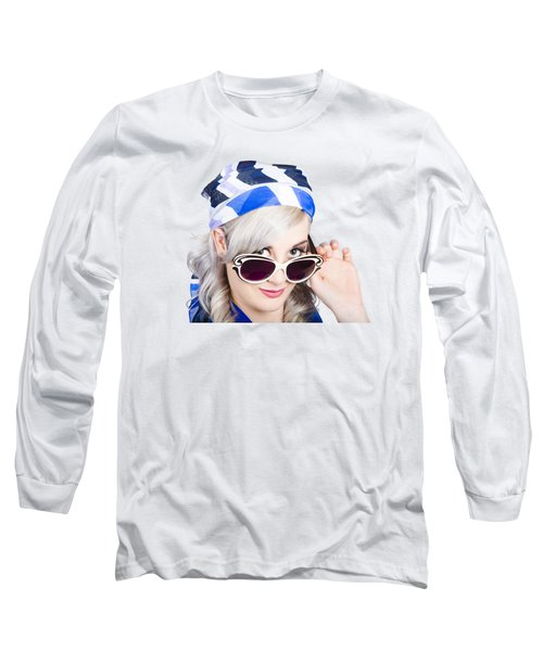 Graceful Pin Up Girl Looking Over Sunglasses Long Sleeve T-Shirt