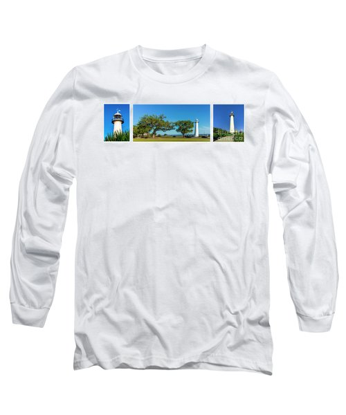 Grand Old Lighthouse Biloxi Ms Collage A1e Long Sleeve T-Shirt