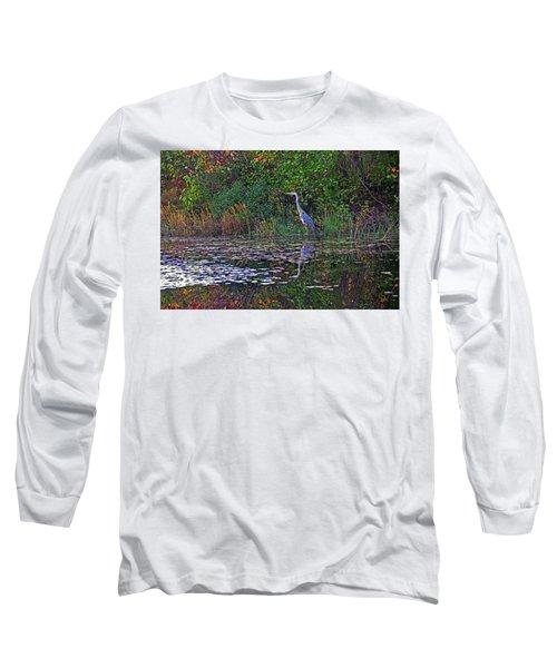 Great Blue Heron In Autumn Long Sleeve T-Shirt
