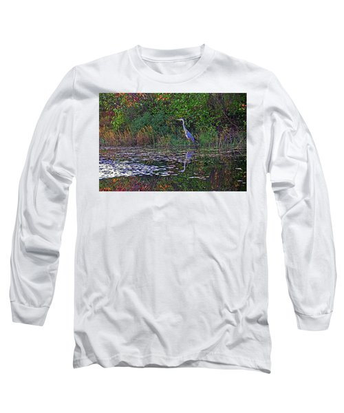 Long Sleeve T-Shirt featuring the photograph Great Blue Heron In Autumn by Wayne Marshall Chase