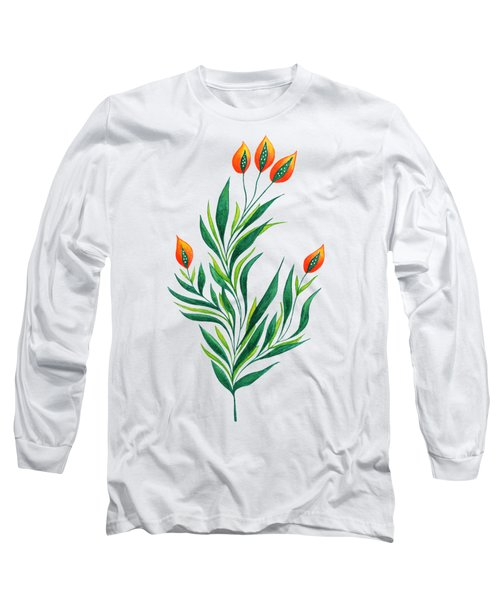Green Plant With Orange Buds Long Sleeve T-Shirt