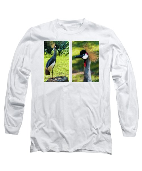 Grey Crowned Crane Gulf Shores Al Collage 10 Diptych Long Sleeve T-Shirt