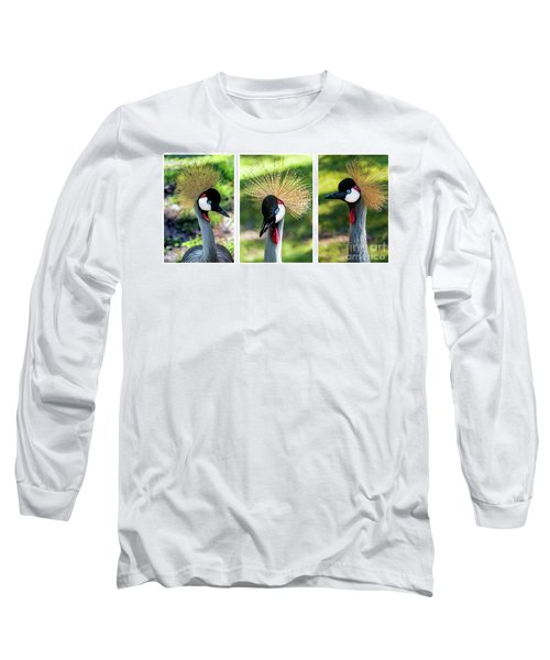 Grey Crowned Crane Gulf Shores Al Collage 2 Triptych Long Sleeve T-Shirt
