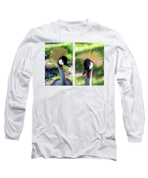 Grey Crowned Crane Gulf Shores Al Collage 3 Diptych Long Sleeve T-Shirt