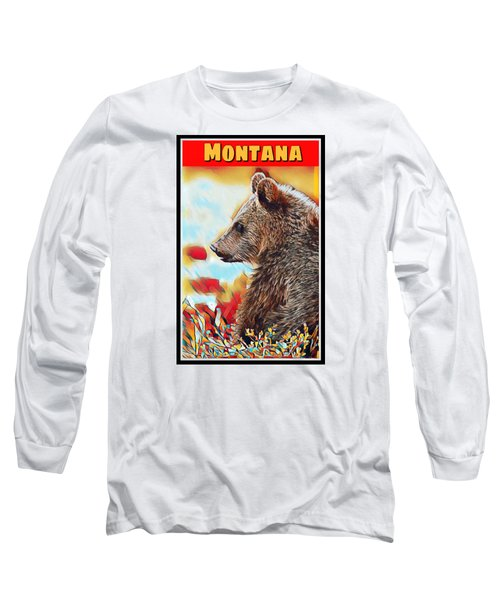 Grizzly Bear Art Montana Wildlife Travel Poster Long Sleeve T-Shirt