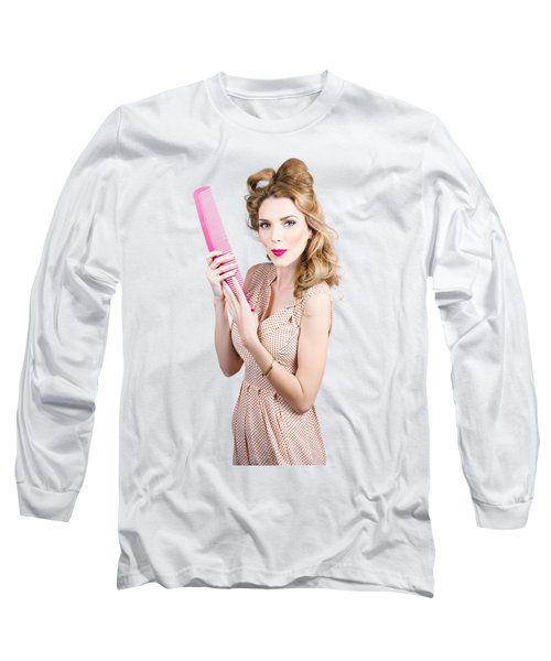 Hair Style Model. Pinup Girl With Large Pink Comb Long Sleeve T-Shirt