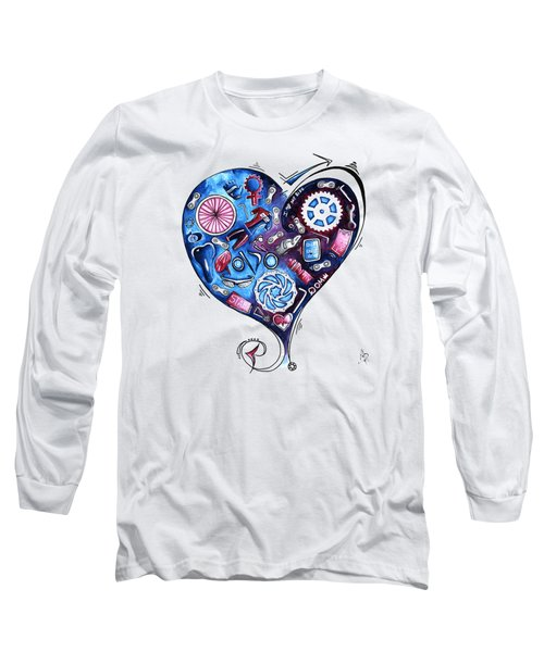 Heart Racing A Mad Shredder Biking Cycling Painting By Megan Duncanson Long Sleeve T-Shirt