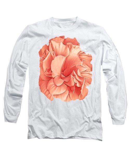 Hibiscus Rosa Double Petaled Peach Long Sleeve T-Shirt