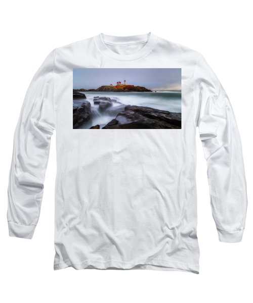 Long Sleeve T-Shirt featuring the photograph Holiday Lights, Nubble Lighthouse York Me. by Michael Hubley