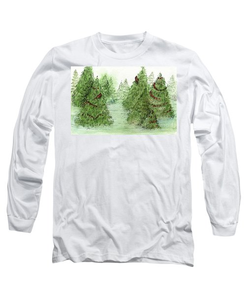 Holiday Trees Woodland Landscape Illustration Long Sleeve T-Shirt