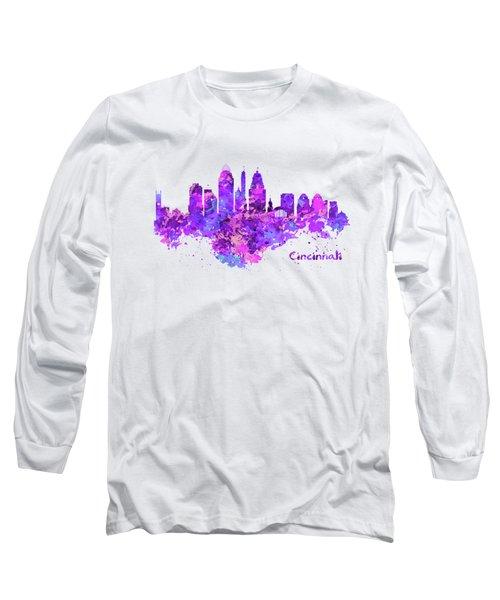 Horizontal Watercolor Skyline Of Cincinnati Long Sleeve T-Shirt