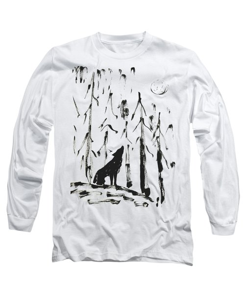 Long Sleeve T-Shirt featuring the painting Howl #2 by Maria Langgle