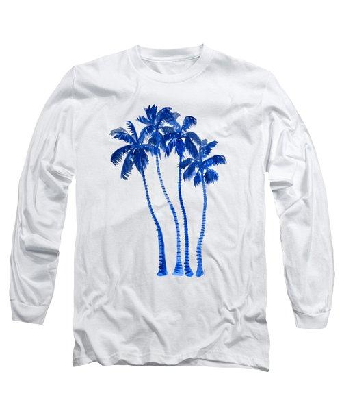 Indigo Blue Palm Trees Long Sleeve T-Shirt