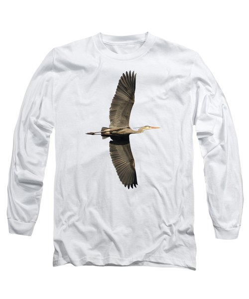 Isolated Great Blue Heron 2018-1 Long Sleeve T-Shirt