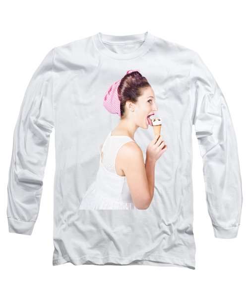 Isolated Pinup Girl With Ice Cream In Studio  Long Sleeve T-Shirt
