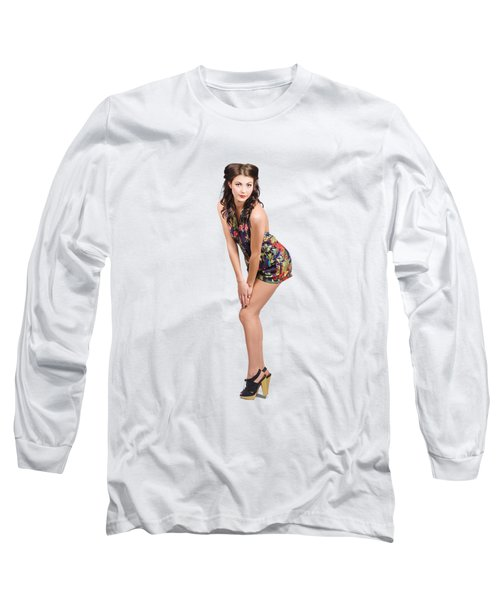 Isolated Portrait Of A Lovely Retro Pin Up Woman  Long Sleeve T-Shirt