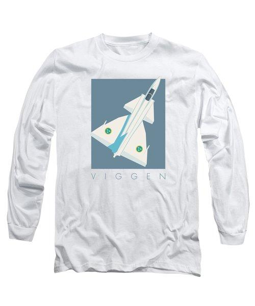 J37 Viggen Swedish Air Force Fighter Jet Aircraft - Slate Long Sleeve T-Shirt