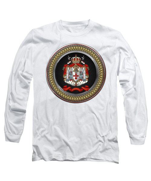 Knights Templar - Coat Of Arms Special Edition Over White Leather Long Sleeve T-Shirt