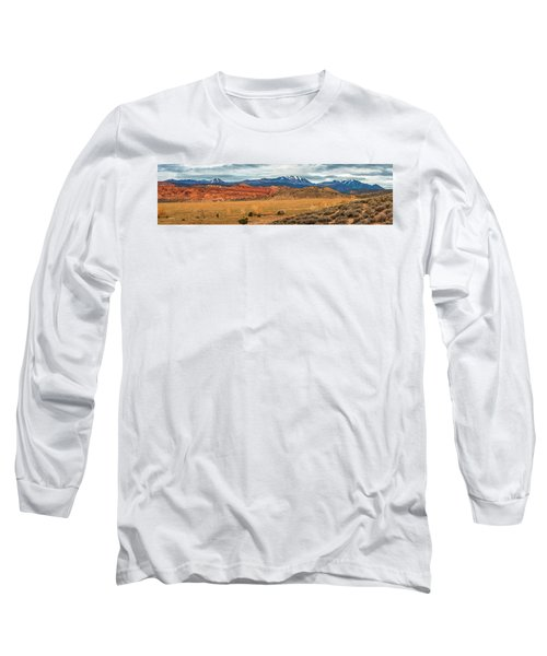 Long Sleeve T-Shirt featuring the photograph La Sal Mountains by Andy Crawford
