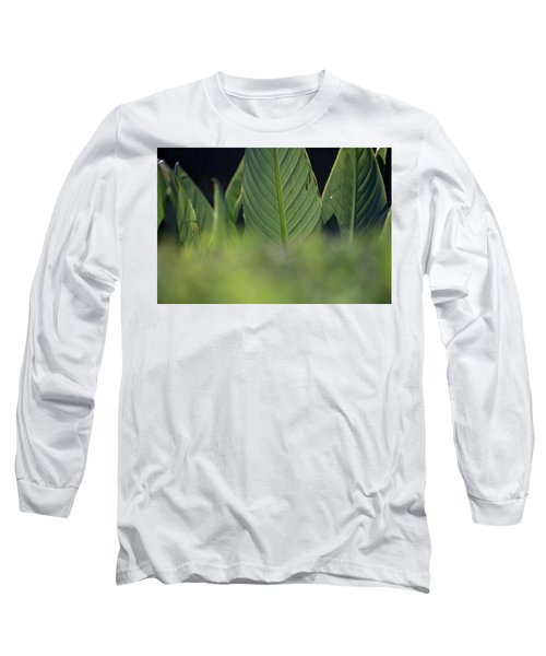 Large Dark Green Leaves Long Sleeve T-Shirt