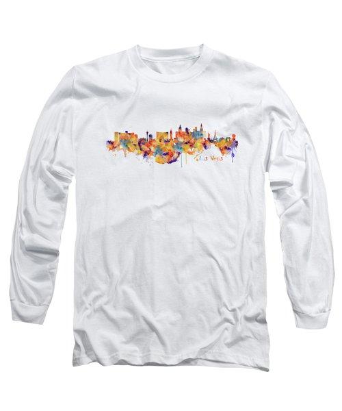 Las Vegas Watercolor Skyline Long Sleeve T-Shirt