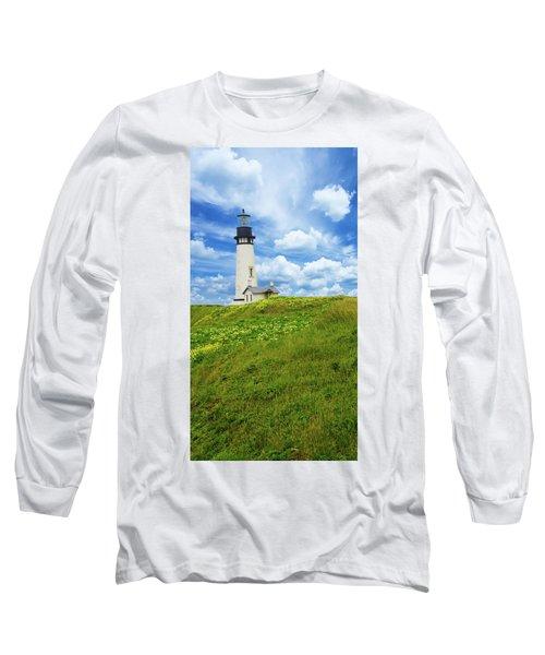 Lighthouse On  Yaquina Head  Long Sleeve T-Shirt