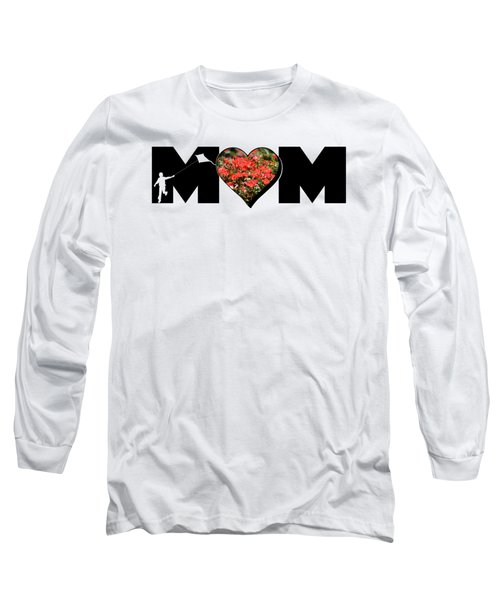 Little Boy Silhouette In Mom Big Letter With Cluster Of Red Roses In Heart Long Sleeve T-Shirt
