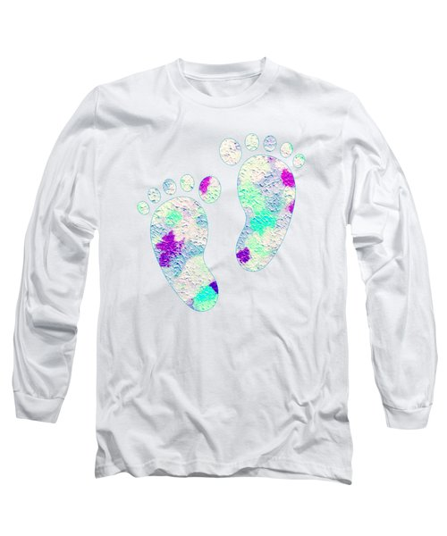 Long Sleeve T-Shirt featuring the mixed media Little Feet Prints For Kids In Pinks And Blues by Rachel Hannah