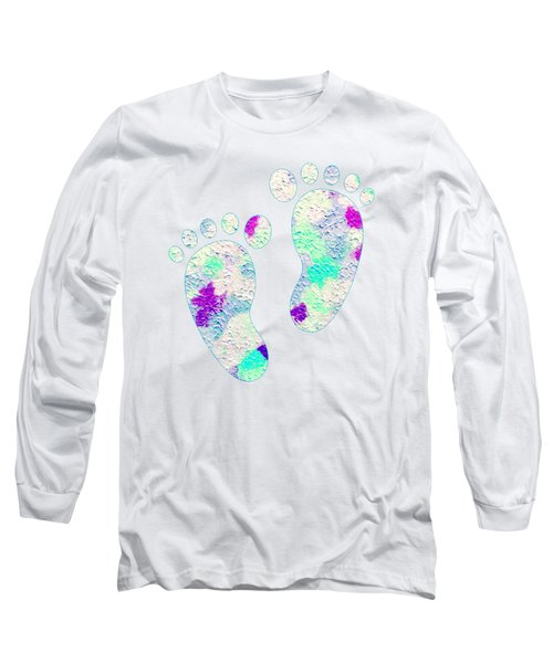 Little Feet Prints For Kids In Pinks And Blues Long Sleeve T-Shirt